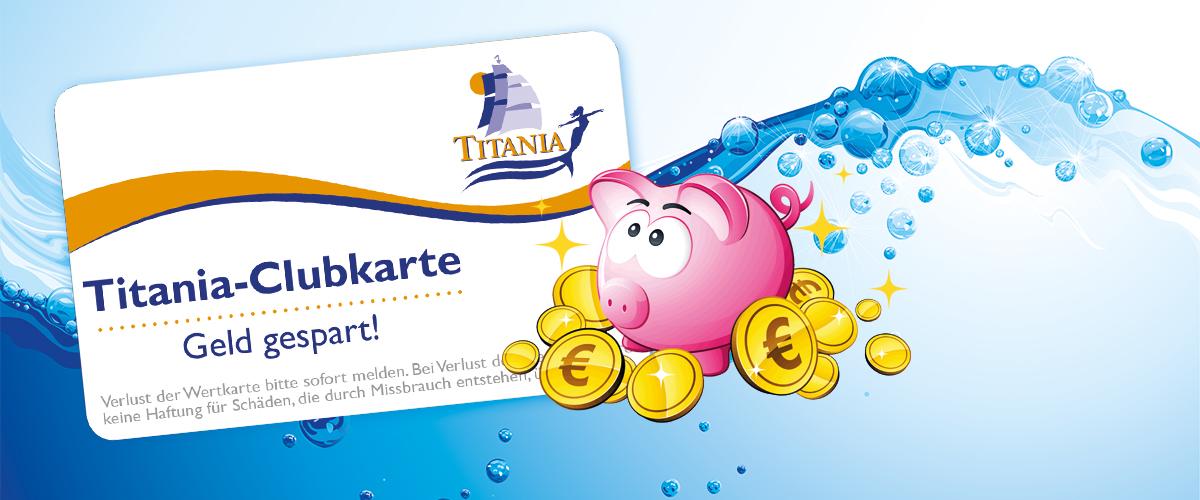 Werbegrafik Titania-Clubkarte mit Sparschwein