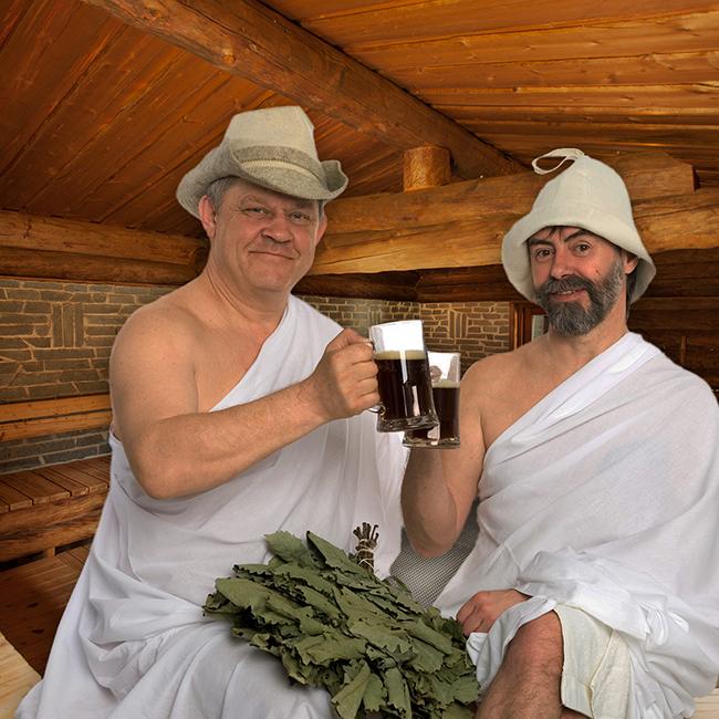 zwei Männer in Kräutersauna