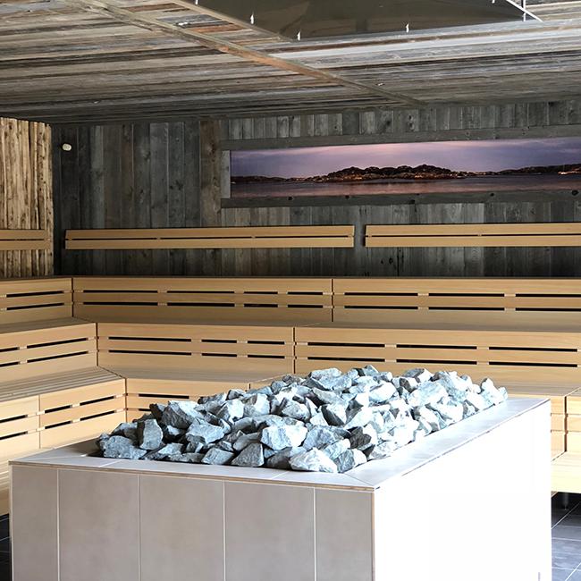Saunaneubau Schärensauna Innenbereich Ofen