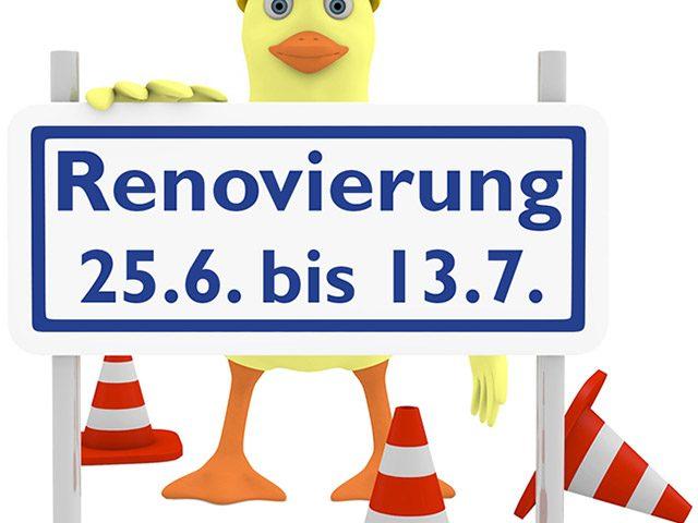Ente mit Schild Renovierung 25.6 bis 13.7